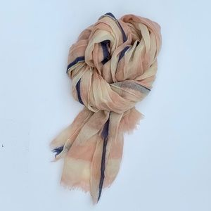 Madewell Wool Blush and Navy Watercolor Dye Scarf